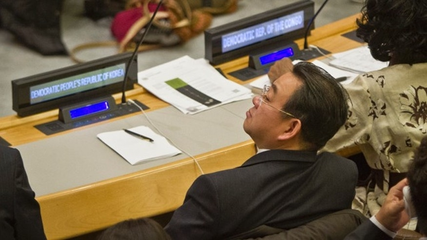 November 18, 2014: Choe Myong Nam, a North Korean official in charge of U.N. affairs and human rights, listens during a meeting of the U.N. General Assembly human rights committee. (AP Photo/Bebeto Matthews)