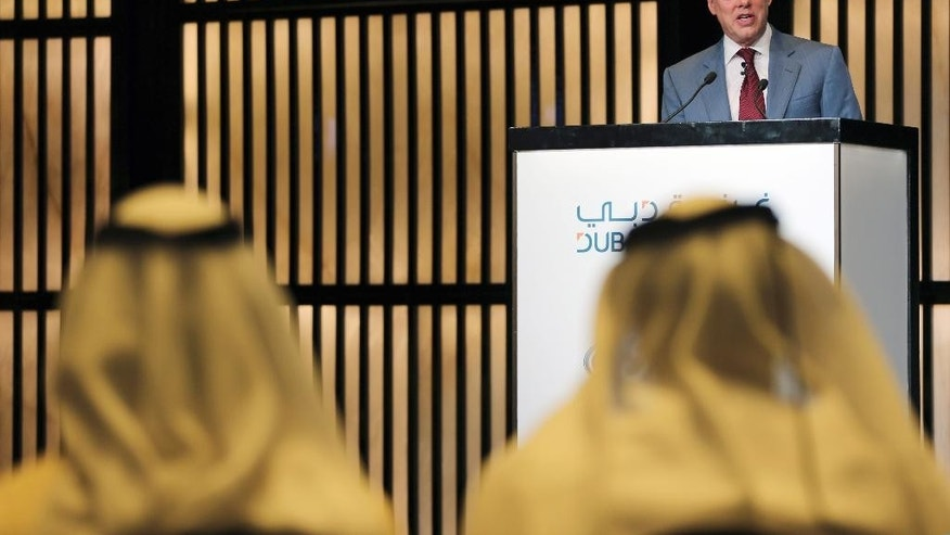 "William Clay Ford, Jr., executive chairman of Ford Motor Co. and vice chairman of the Detroit Lions, delivers a speech during the ""Future of Mobility"" talk at a hotel in Dubai, United Arab Emirates, Wednesday, Nov. 19, 2014. (AP Photo/Kamran Jebreili)"