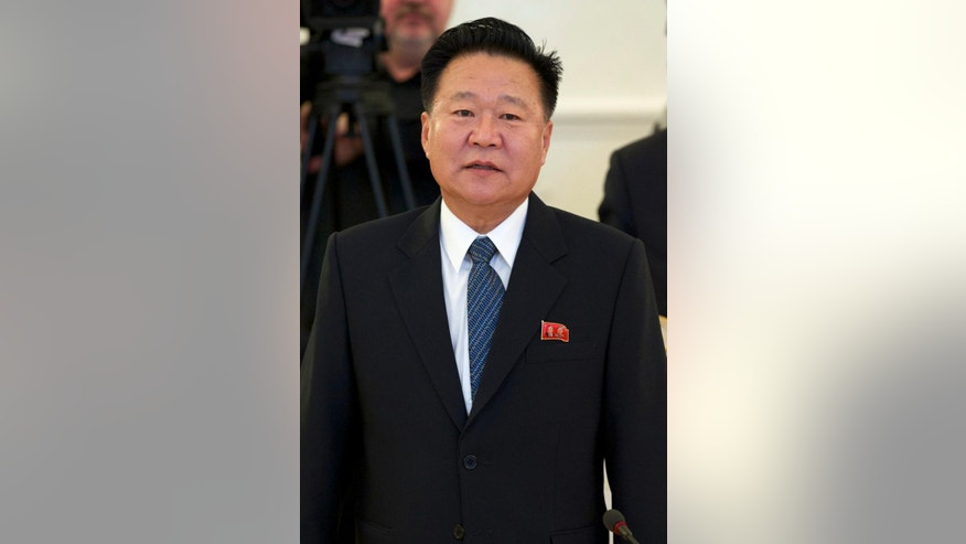 North Korea's special envoy Choe Ryong Hae arrives for his meeting with Russian Foreign Minister Sergey Lavrov in Moscow, Russia, Thursday, Nov. 20, 2014. Earlier Russian President Vladimir Putin met with Choe, the special envoy of North Korean leader Kim Jong Un, who delivered a letter from Kim. No further details were given. (AP Photo/Ivan Sekretarev)