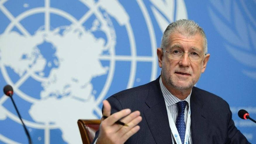 Nov. 20, 2014: Gianni Magazzeni, Chief of the America, Europe, and Central Asia Branch of the  Office of the High Commissioner for Human Rights, OHCHR, l a speaks during a news conference about the Launch of the new OHCHR report on the human rights situation in Ukraine, at the European headquarters of the United Nations, in Geneva, Switzerland. (AP)