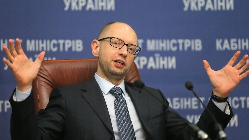 Nov. 20, 2014: Ukrainian Prime Minister Arseniy Yatsenyuk speaks to media during his press conference in Kiev, Ukraine. (AP)