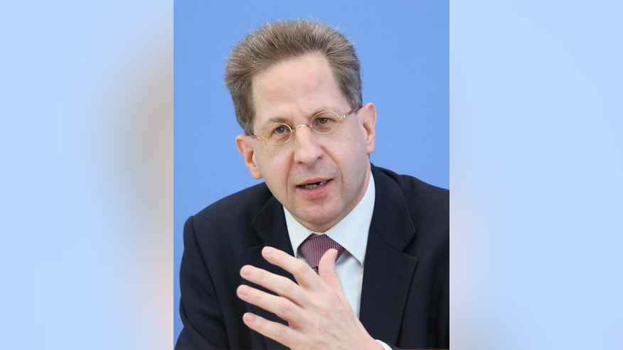 FILE - In this June 11, 2013 file picture  he head of Germany's domestic intelligence agency Hans-Georg Maassen. attends a news conference in Berlin.   Maassen says authorities now know of 550 people from the country who have traveled to Syria and Iraq to join extremist groups, and about 60 of them have died. The number given by Hans-Georg Maassen in an interview with Sunday's  Nov. 23, 2014 Welt am Sonntag newspaper is up from the  figure of 450 authorities previously used.  (AP Photo/dpa, Stephanie Pilick,file)
