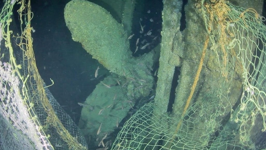 In this April 14, 2014 image from video provided by Definitive Productions, fish swim around the propeller of the underwater shipwreck  S.S. Ventnor near Whangarei, off the northern New Zealand coast. The S.S. Ventnor sank 112 years ago off the northern New Zealand coast, bearing the exhumed bodies of 499 Chinese miners. They had tried their luck in New Zealand's gold rush, and had paid in advance to ensure their bodies would go back to China, no matter what. The wreck was discovered in 2012, raising the possibility that someday, the remains might go home. (AP Photo/Definitive Productions)