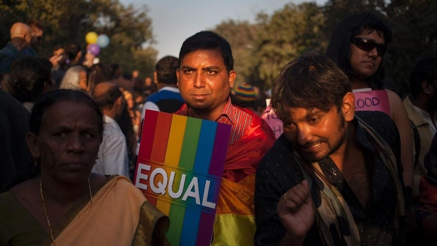 A participant holds a placard during a gay rights parade in New Delhi, India, Sunday, Nov. 30, 2014. Nearly a thousand gay rights activists marched Sunday to demand an end to discrimination against gays in India's deeply conservative society.(AP Photo/Tsering Topgyal)
