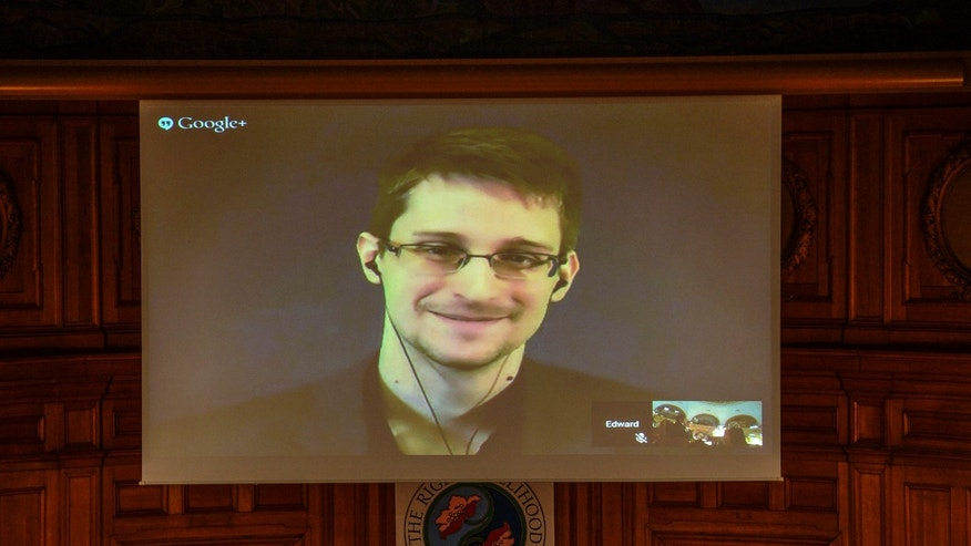 Dec. 1, 2014 - Edward Snowden, shown on a livestream from Moscow, is awarded the Right Livelihood Award ceremony at the Swedish Parliament, in Stockholm. Snowden, a co-winner of the award, has called on the UN for measures to protect individual privacy and human rights.