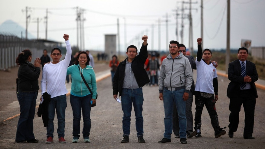 Activists raise their fists after they were released from prison in the Gulf state of Veracruz, Mexico, Saturday, Nov. 29, 2014.