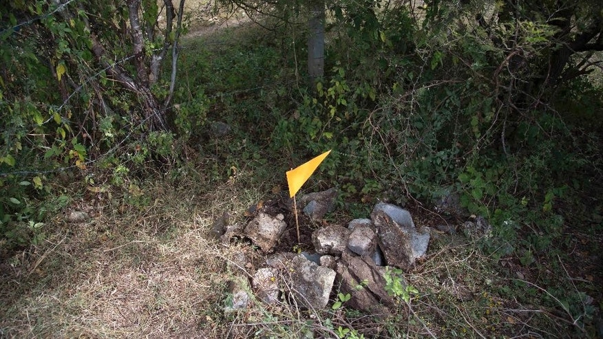 In this Nov. 29, 2014 photo, a flag marks the place where a possible clandestine grave might be located, on the outskirts of Iguala, Mexico. After 43 students vanished, searches around Iguala turned up at least 10 secret graves. None of the remains found in those mounds proved to be the students, but knowing they belonged to someone's son or daughter, more relatives came forward to seize the moment. Parents out searching the rugged terrain have banded together in a shared fury over government involvement in the deaths of the Ayotzinapa students, and a suspicion that officials could have been involved in the disappearances of their children, too.  (AP Photo/Eduardo Verdugo)