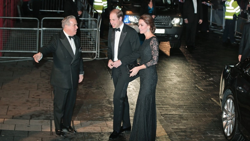 Nov. 13, 2014 - Britain's Prince William and Kate, Duchess of Cambridge arrive to attend the Royal Variety Performance, at the Palladium Theatre, in central London. The royal couple will visit the U.S. Sunday, meeting with President Obama, taking a tour of the 9/11 Memorial Museum, and attending an NBA game.