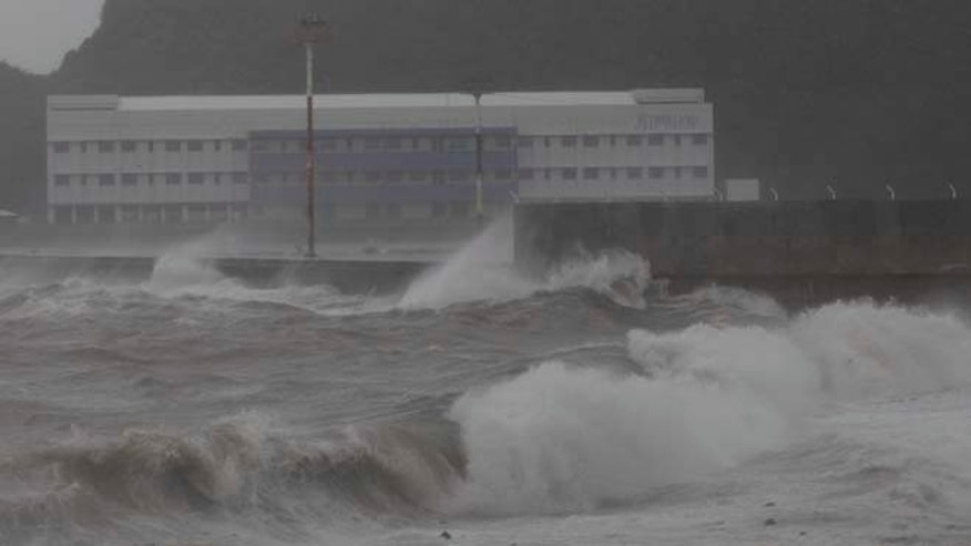 Dec. 7, 2014: Strong waves from Typhoon Hagupit hit the shores of Legazpi, Albay province, eastern Philippines. (AP)