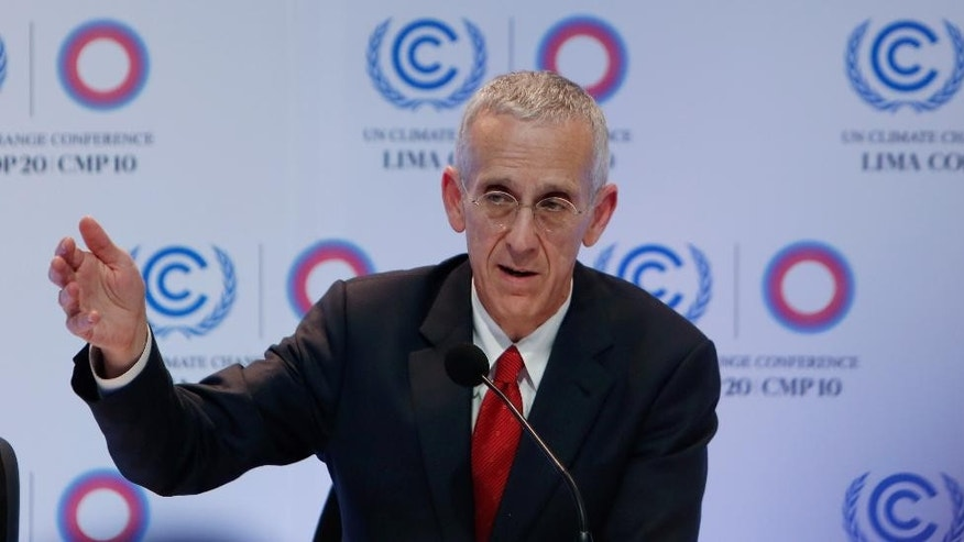 U.S. climate change envoy Todd Stern speaks during a press conference at the Climate Change Conference in Lima, Peru, Monday, Dec. 8, 2014. Delegates from more than 190 countries are meeting in Lima, to work on drafts for a global climate deal that is supposed to be adopted next year in Paris. (AP Photo/Juan Karita)