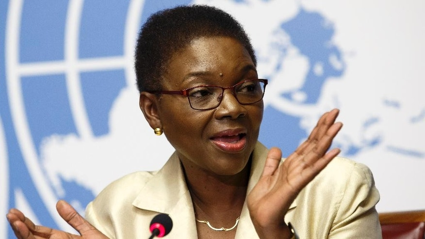 Britain's Valerie Amos, United Nations Under-Secretary-General for Humanitarian Affairs and Emergency Relief Coordinator, launches the Global Humanitarian Appeal 2015 to support people affected by disaster and conflict, during a press conference, at the European headquarters of the United Nations in Geneva, Switzerland, Monday, Dec.8, 2014.  (AP Photo/Keystone,Salvatore Di Nolfi)
