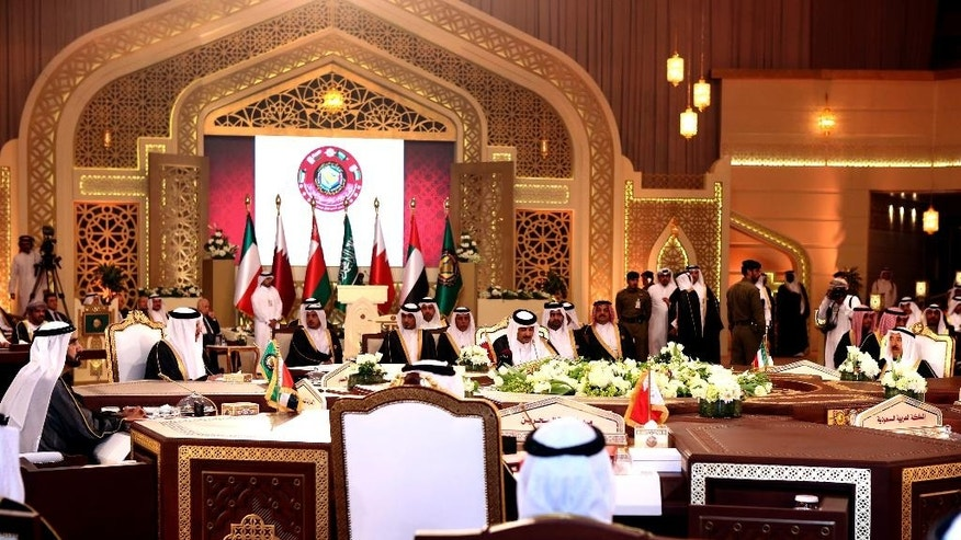 A general view of a meeting of leaders during the Gulf Cooperation Council summit in Doha, Qatar, Tuesday, Dec. 9, 2014. (AP Photo/Osama Faisal)