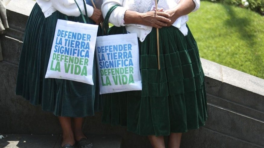 "Two Indian women from the Andes rest with their bags with messages in spanish that read, "" To defend the earth is to defend life"" during a march in ""Defense of Mother Earth"" in Lima, Peru, Wednesday, Dec. 10, 2014. Thousands marched in support of Mother Earth as they chanted slogans against illegal mining, and logging operations, as well as oil drilling. They asked that the exploitation of resources in their ancestral lands be stopped immediately. (AP Photo/Martin Mejia)"