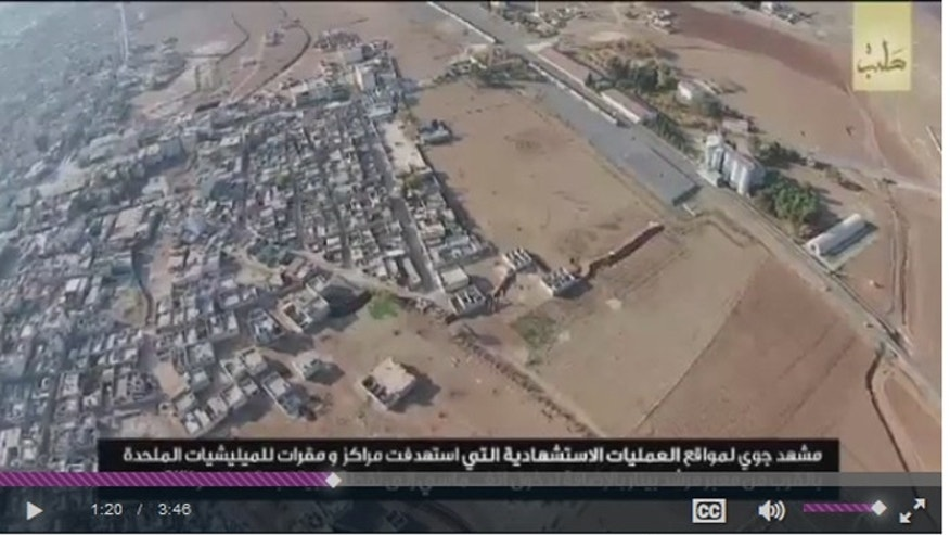This screenshot from a video released by ISIS shows the view of a town near the Turkish border after Islamic State militants attacked.
