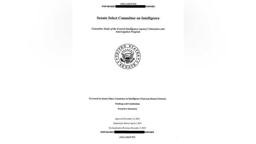 This image shows the cover of the CIA torture report released by Senate Intelligence Committee Chair Sen. Dianne Feinstein D-Calif. on Tuesday, Dec. 9, 2014. (AP Photo/U.S. Senate)