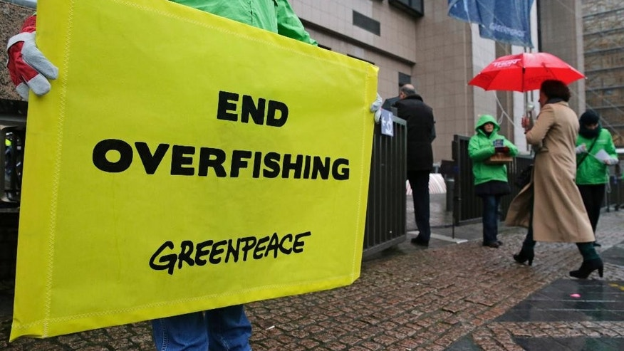 Greenpeace activists stage a protest against overfishing, in front of the European Council building in Brussels, Monday, Dec. 15, 2014. EU fisheries ministers from 28 European countries meet in Brussels to agree the 2015 fishing quotas for most stocks, including those in the Atlantic, the North Sea and the Black Sea. (AP Photo/Yves Logghe)