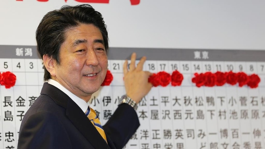 Japanese Prime Minister Shinzo Abe, leader of the Liberal Democratic Party, smiles as he places a red rosette on the name of his Liberal Democratic Party's winning candidate during ballot counting for the lower house elections at the party headquarters in Tokyo, Sunday, Dec. 14, 2014. (AP Photo/Shizuo Kambayashi)