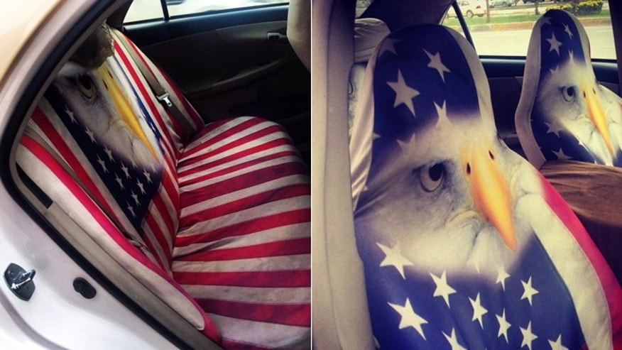 The American flag is seen everywhere, even on the backseats of taxicabs. Here, the American Bald Eagle decorates the front seats. (FoxNews.com)