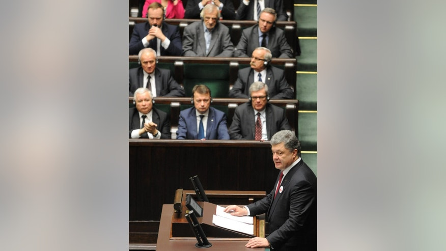 Dec. 17, 2014: Ukrainian President Petro Poroshenko addresses lawmakers at the Polish parliament in Warsaw, Poland, on the first day of his official visit to Poland.