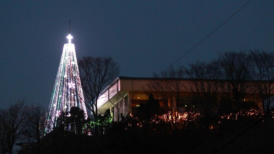 This Tuesday, Dec. 21, 2010 photo shows a giant steel Christmas tree lit up at the western mountain peak known as Aegibong in Gimpo, South Korea. A South Korean church group has canceled plans to erect the giant Christmas tree near the border with North Korea after locals complained that it could provoke Pyongyang. (AP Photo/Lee Jin-man)