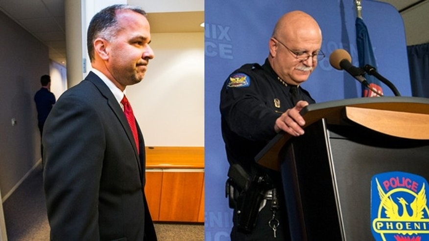City Manager Ed Zuercher (left) leaves the room at City Hall after announcing that he fired Phoenix Police Chief Daniel Garcia (right) because of a Thursday, Dec. 18, 2014 press conference in which he indicated he wanted a new two-year contract. (Photos: Zuercher, AP Photo/The Arizona Republic, Tom Tingle; Garcia, AP Photo/The Arizona Republic, Nick Oza)