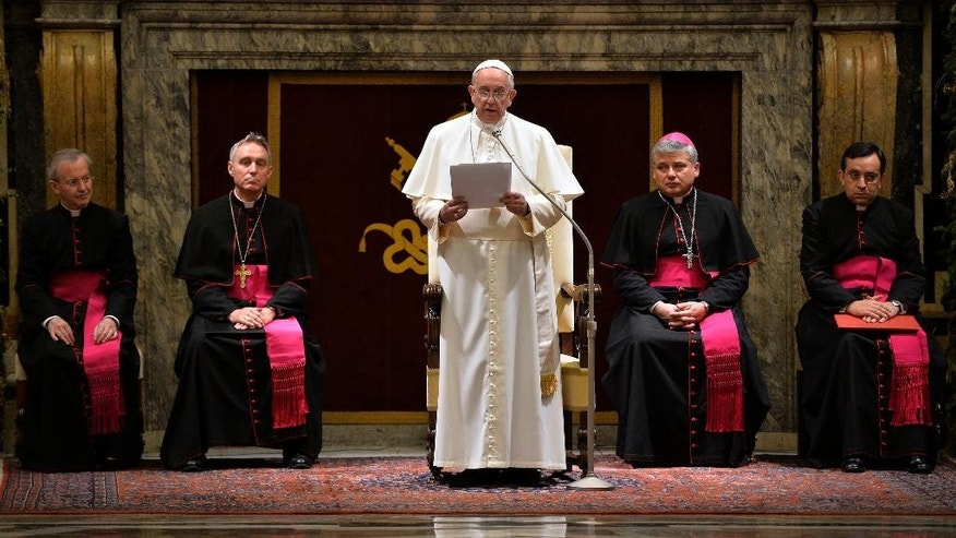 Dec. 22, 2014 - Pope Francis delivers his message during a meeting with Cardinals and Bishops of the Vatican Curia on the occasion of the exchange of Christmas greetings in the Clementine hall at Vatican.