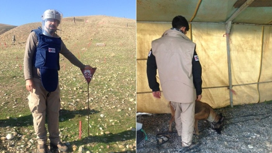 Salaam Muhammed, who works with MAG, stands next to a marker showing a mine has been detected under ground. At right, a MAG dog trainer works with the groups secret weapon for sniffing out mines. (FoxNews.com)