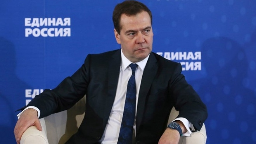 Dec. 23, 2014: Russian Prime Minister Dmitry Medvedev  listens during a meeting with senior ruling United Russia Party officials in Moscow, Russia.