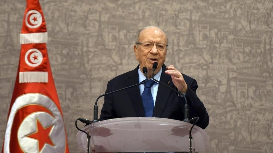 Newly elected Tunisian President Beji Caid Essebsi gives a press conference in Tunis, Wednesday, Dec.24, 2014. The 88-year-old political veteran has been elected president of Tunisia, a country whose young people once electrified the world by overthrowing its 73-year-old dictator in 2011 and triggering the Arab Spring uprisings across the region. (AP Photo)