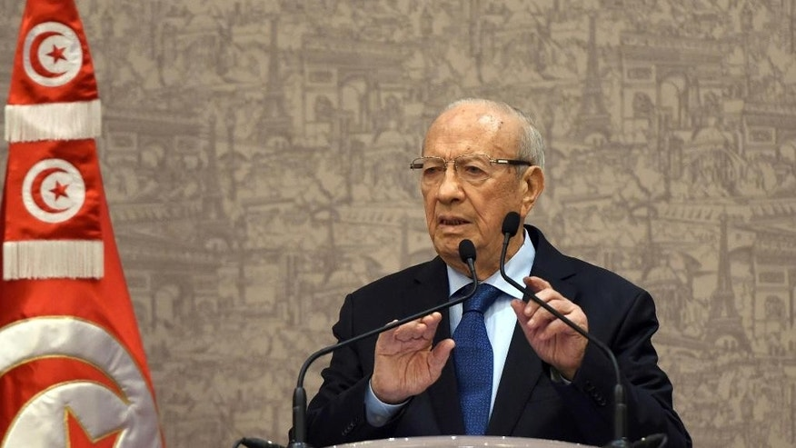 Newly elected Tunisian President Beji Caid Essebsi gives a press conference in Tunis, Wednesday, Dec.24, 2014. The 88-year-old political veteran has been elected president of Tunisia, a country whose young people once electrified the world by overthrowing its 73-year-old dictator in 2011 and triggering the Arab Spring uprisings across the region. (AP Photo/Str)