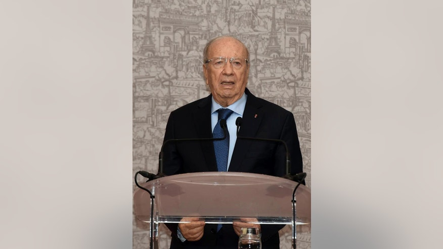 Newly elected Tunisian President Beji Caid Essebsi gives a press conference in Tunis, Wednesday, Dec. 24, 2014. The 88-year-old political veteran has been elected president of Tunisia, a country whose young people once electrified the world by overthrowing its 73-year-old dictator in 2011 and triggering the Arab Spring uprisings across the region. (AP Photo)