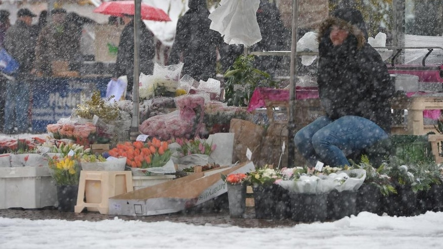Flower vendor  Eda Erkol  waits for clients during snowfall at the weekly open-air market in Wiesbaden, Germany Saturday Dec. 27, 2014.Weather forecasts predict colder temperatures and snowfall for Germany.  (AP Photo/dpa, Arne Dedert)