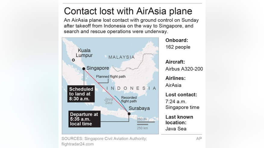 Map locates Jakarta, Indonesia and details of the missing AirAsia plane; 3c x 4 inches; 146 mm x 101 mm;