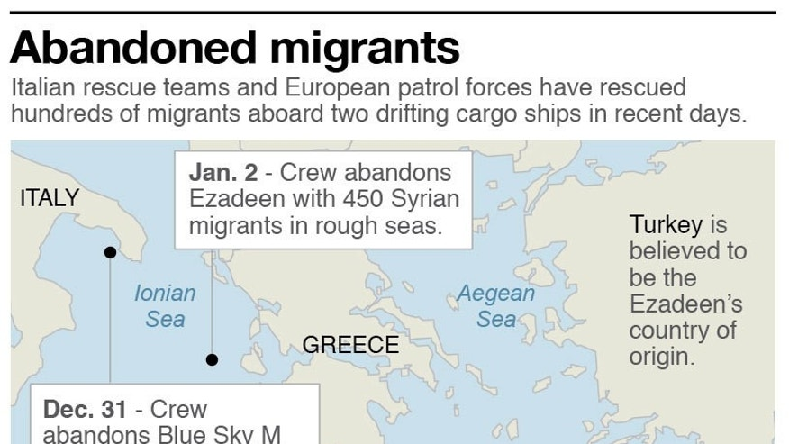 Map shows locations of two cargo vessels abandoned by their crew, leaving hundreds to migrants to drift; 2c x 3 inches; 96.3 mm x 76 mm;