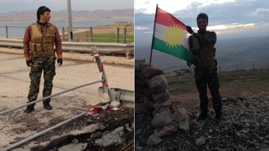 At left, a Peshmerga fighter examines the damage from ISIS artillery hitting close to their frontline position near Mosul Dam. At right, another proudly displays Kurdish flag. (FoxNews.com)