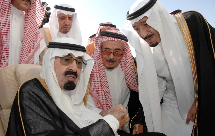 This photo released by the Saudi Press Agency, shows Saudi King Abdullah bin Abd al-Aziz, left, speaking with Prince Salman bin Abdel Aziz, the Saudi King's brother and Riyadh Governor, right, before his departures to United States in Riyadh, Saudi Arabia, Monday, Nov. 22, 2010. King Abdullah flew on Monday to the United States for medical treatment, seeking treatment after a blood clot complicated a slipped spinal disc, the state news agency SPA said. (AP Photo/HO)  EDITORIAL USE ONLY, NO SALES