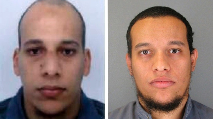 "This photo provided by The Paris Police Prefecture Thursday, Jan.8, 2015 shows the suspects Cherif, left, and Said Kouachi  in the newspaper attack along with a plea for witnesses. Police hunted Thursday for two heavily armed men, one with possible links to al-Qaida, in the methodical killing of 12 people at a satirical newspaper that caricatured the Prophet Muhammed. France began a day of national mourning for what its president called ""an act of exceptional barbarism. (AP Photo/Prefecture de Police de Paris)"
