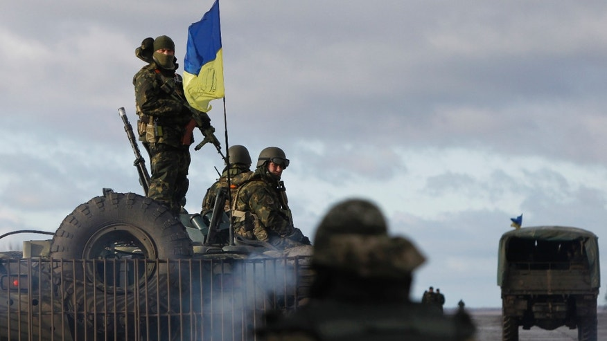 Dec. 24, 2014: Ukrainian soldiers at a military base in Kramatorsk, Donetsk region, eastern Ukraine.