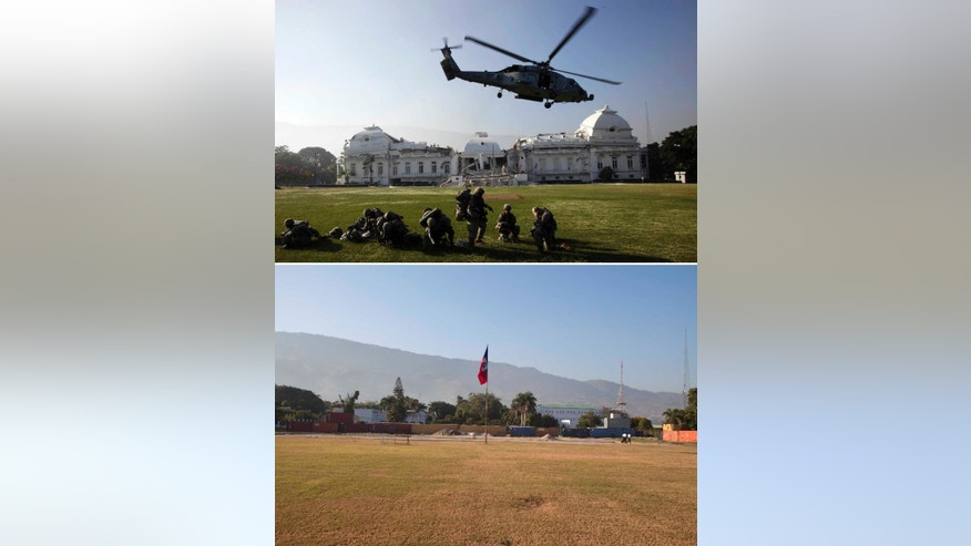 FILE - This combo of two photos shows a Jan. 19, 2010 file photo, top, of a U.S. Navy helicopter taking off outside the partially collapsed National Palace after the U.S. Army 82nd Airborne landed to provide security one week after a powerful earthquake struck Port-au-Prince, Haiti, and a photo taken of the same location five years later on Jan. 10, 2015 where a lone Haitian flag hangs from a flagpole. The Beaux Arts structure was removed in 2012 but its successor has not been built yet, after a 7.0 magnitude earthquake struck on the afternoon of Jan. 12, 2010. (AP Photo/Gregory Bull, Dieu Nalio Chery, File)