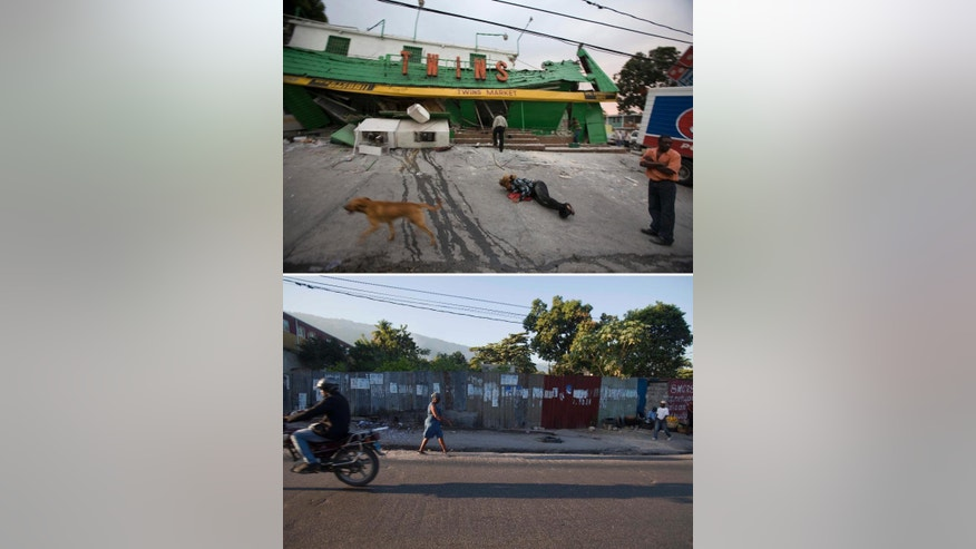 FILE - This combo of two photos shows a Jan. 12, 2010 file photo, top, of the Twins Market the day it collapsed during a 7.0 earthquake that struck Port-au-Prince, Haiti, and a photo taken from the same spot five years later, on Jan. 10, 2015, where only a metal fence stands. One of the worst natural disasters of modern times, the Jan. 12, 2010 quake killed an estimated 300,000 people, damaged or destroyed more than 300,000 buildings. (AP Photo/Cris Bierrenbach, Dieu Nalio Chery, File)