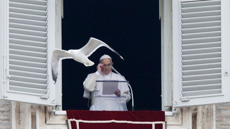 A seagull flies as Pope Francis delivers his message during the Angelus noon prayer at the Vatican, Sunday, Jan. 11, 2015. Pope Francis on Sunday baptized 33 babies in the Sistine Chapel as part of an annual tradition, this year repeating an invitation to mothers to nurse their babies if crying out of hunger. For the first time in his pontificate, Francis celebrated Mass with his back to the faithful, according to the rites before the modernizing reforms of the Second Vatican Council in the 1960s. (AP Photo/Gregorio Borgia)