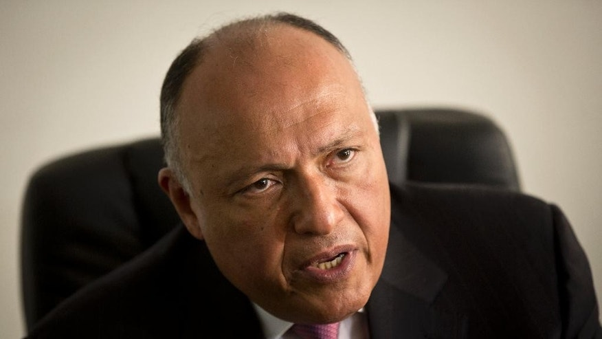 Egypt's Foreign Minister, Sameh Shukri, speaks to the media during his visit to the United Nations Office in Nairobi, in Kenya Tuesday, Jan. 13, 2015. Media based in Nairobi, where Australian Al-Jazeera journalist Peter Greste who is detained with two of his colleagues in Egypt is based, staged a protest while Shukri was visiting the UN office to speak about Egypt being a candidate for a non-permanent seat at the UN Security Council. (AP Photo/Ben Curtis)