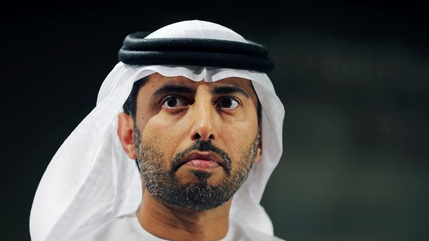 Suhail bin Mohammed al-Mazroui, UAE Oil Minister listens during his appearance at the 6th Gulf Intelligence UAE Energy Forum in Abu Dhabi, United Arab Emirates, Tuesday, Jan. 13, 2015. (AP Photo/Kamran Jebreili)