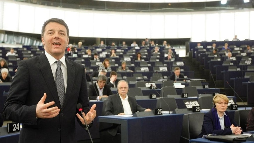 Italian Prime Minister Matteo Renzi delivers a speech at the European Parliament in Strasbourg, eastern France, Tuesday Jan. 13, 2015. Renzi reviewed the outgoing EU presidency. (AP Photo/Christian Lutz)