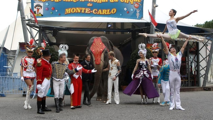Princess Stephanie of Monaco, center left, poses during the presentation of the 39th Monte-Carlo International Circus Festival in Monaco, Tuesday, Jan. 13, 2015. The Circus Festival takes place from Jan. 15  to Jan 25. (AP Photo/Lionel Cironneau)
