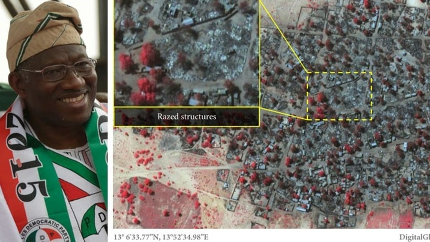 Left: Jan. 2015: Nigeria President Goodluck Jonathan. (AP) Right: Jan. 7, 2015: Satellite image released by Amnesty International of the village of Doron Baga in north-eastern Nigeria, shows after it was allegedly attacked by members of the Islamic extremist group Boko Haram.