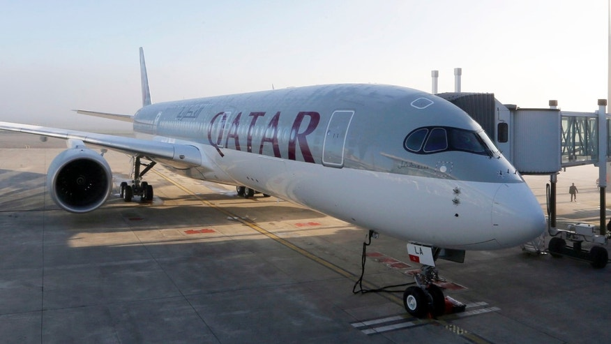 Dec. 22, 2014: An Airbus A350 XWB is pictured on the tarmac during the first delivery of this new passenger jet at Qatar Airways in Toulouse, southwestern France.