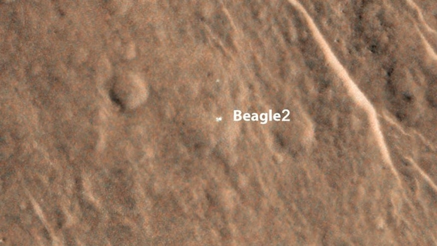In this image provided by NASA an annotated image shows a bright feature interpreted as the United Kingdom's Beagle 2 Lander with solar arrays at least partially deployed on the surface of Mars. Beagle 2 was released by the European Space Agency's Mars Express orbiter but never heard from after its expected Dec. 25, 2003, landing.  This and other images from the High Resolution Imaging Science Experiment (HiRISE) camera on NASA's Mars Reconnaissance Orbiter have located the lander close to the center of its planned landing area. Two images taken months apart, with the sun at different angles, are merged in this view. A glint comes from a different part of the lander in one than in the other, interpreted as evidence of more than one deployed panel on the lander.  (AP Photo/NASA/JPL-Caltech/Univ. of Arizona/University of Leicester)