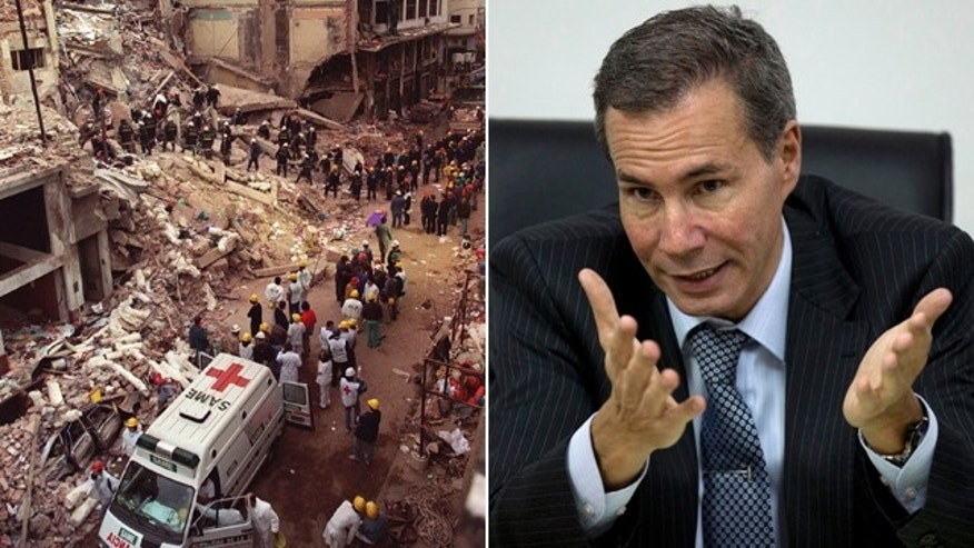 At left, firefighters and rescue workers search through the rubble of the Argentine-Israeli Mutual Association community center, after a car bomb rocked the building in downtown Buenos Aires on July 18, 1994. At right, Alberto Nisman, the prosecutor investigating the bombing, talks to journalists in Buenos Aires in 2013. (AP)