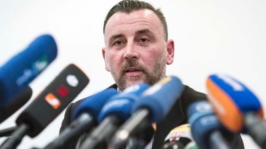Jan. 19, 2015: In this file photo organizer Lutz Bachmann, speaks during  a news conference of the group 'Patriotic Europeans against the Islamization of the West' (PEGIDA) in Dresden, Germany. (AP)